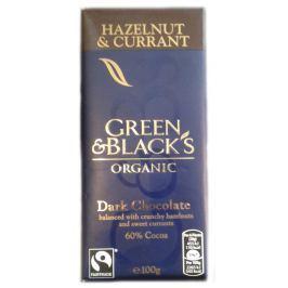 BIO hořká čokoláda s lískovými oříšky a rozinkami 60% Green & Black's 100 g