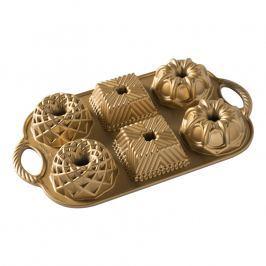 Nordic Ware Forma na 6 malých bábovek Geo Bundtlette zlatá 6 x 160 ml