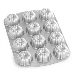 Nordic Ware Forma na 12 báboviček Bundt stříbrná 12 x 60 ml