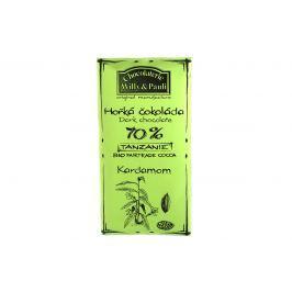 BIO Hořká čokoláda 70% s kardamomem Tanzánie Willy & Pauli 50 g