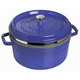 Staub Litinový hrnec s poklicí a napařovací vložkou Cocottes tmavě modrá 26 cm 5 l