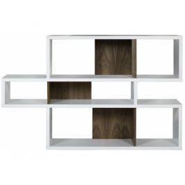 Knihovna Evora I. 100 cm, matná bílá/ořech 9500.314810 Porto Deco