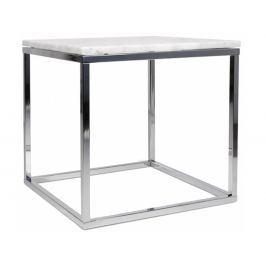 Odkládací stolek Xanti, chromovaná podnož, mramor, bílá 9500.625053 Porto Deco