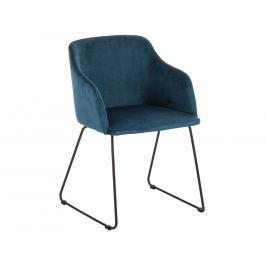Jídelní židle Audrey, samet, tmavě modrá SCHDN22256-16S SCANDI+