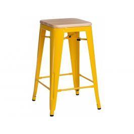 Barová židle Tolix 65, žlutá/světlé dřevo 94534 CULTY