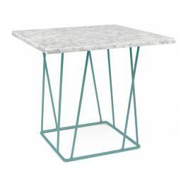 Odkládací stolek Rofus, zelená podnož, bílý mramor 9500.627354 Porto Deco