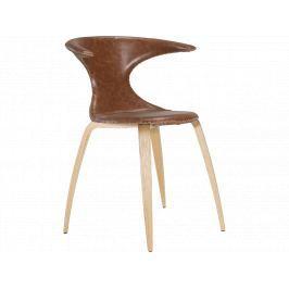 Židle DanForm Flair, světle hnědá, pravá kůže, dubová podnož DF100222022 DAN FORM
