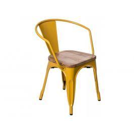 Jídelní židle Tolix 45 s područkami, žlutá/světlé dřevo 72771 CULTY