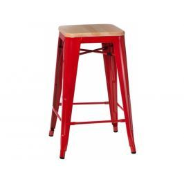 Barová židle Tolix 75, červená/světlé dřevo 72873 CULTY