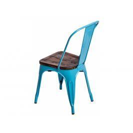 Jídelní židle Tolix 45, modrá/tmavé dřevo 72726 CULTY