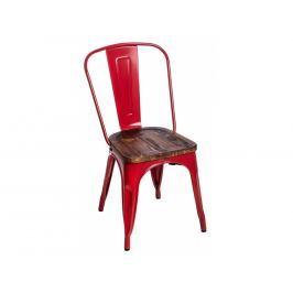 Jídelní židle Tolix 45, červená/tmavé dřevo 72741 CULTY