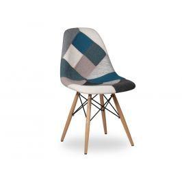 Židle DSW celočalouněná patchwork, modrá/šedá 41750 CULTY