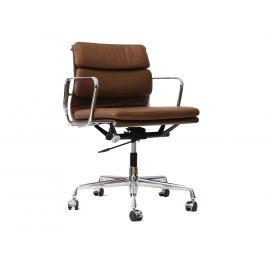 Kancelářská židle Soft Pad 217, hnědá kůže/chrom 9783 CULTY