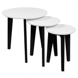 SCANDI Bíločerný set konferenčních stolků Alvin