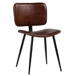 Hoorns Koňakově hnědá kožená židle Alorn