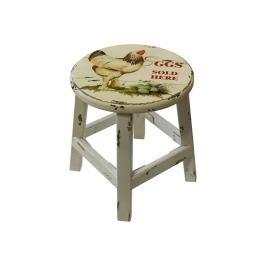 Stolička bílá/slepice antik
