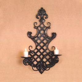 Nástěnný svícen dekorace kov černý antik