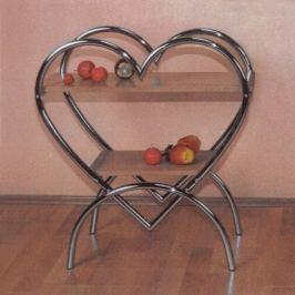Odkládací stolek Srdce chrom/buk