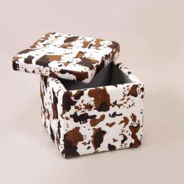 Sedací úložný box bílý/hnědý maskovací