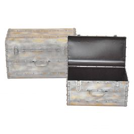 Kovový kufr béžový antik