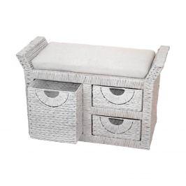 Stolička 3 zásuvky bílá antik