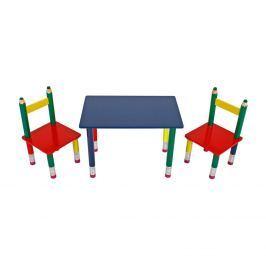 Dětský set stůl + 2 židle PASTELKY