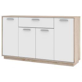 Komoda LEO 4 dveře + 1 zásuvka dub/bílá