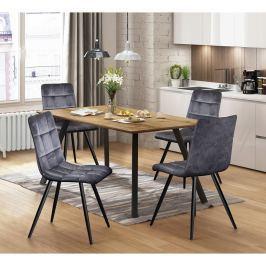 Jídelní stůl BERGEN dub + 4 židle BERGEN šedý samet