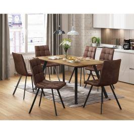 Jídelní stůl BERGEN dub + 6 židlí BERGEN hnědé mikrovlákno