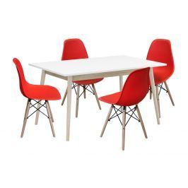 Jídelní stůl NATURE + 4 židle UNO červené