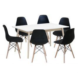 Jídelní stůl NATURE + 6 židlí UNO černé