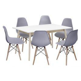 Jídelní stůl NATURE + 6 židlí UNO šedé
