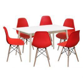 Jídelní stůl NATURE + 6 židlí UNO červené