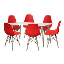 Jídelní stůl GÖTEBORG 50 + 6 židlí UNO červené