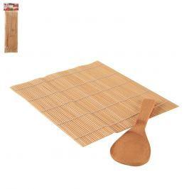 Podložka na sushi s dřevěnou lžící