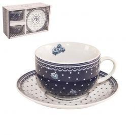 Orion Hrnek porcelánový s podšálkem sada modro bílé tečky 0,25l