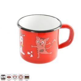 Hrnek smaltovaný červený s motivem koček 12 cm