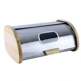 Chlebovka nerezová s dřevěnými boky 42,5 x 29 x 19 cm