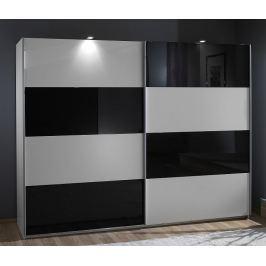 Easy Plus, 225 cm, bílá/černé sklo