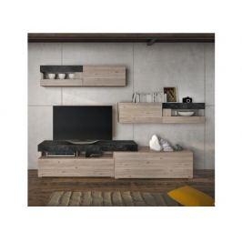 Obývací stěna s LED osvětlením Quisco, dub nelson / beton