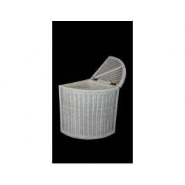 Ratanový prádelní koš rohový - bílý ratan