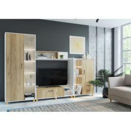 Obývací stěna TALIN, bílá/dub wotan