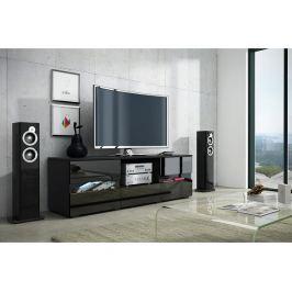 TV stolek Global 2, černá / černý lesk