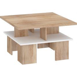 Konferenční stolek Supra 1, dub sonoma / bílý lesk