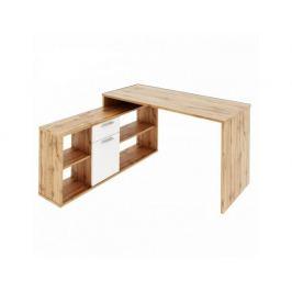 PC stůl NOE, dub Wotan / bílá