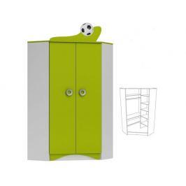 Rohová šatní skříň FOTBAL ABS 28 bílá/limetka
