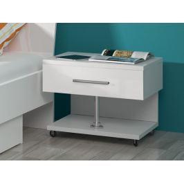 Noční stolek RAJ, bílá/bílý lesk