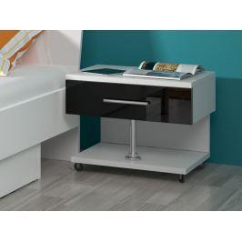 Noční stolek RAJ, bílá/černý lesk