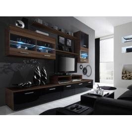 LOGO II, obývací stěna, švestka/černý lesk