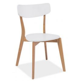 Jídelní židle MOSSO, bílá/dub